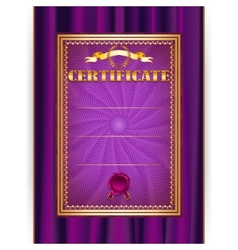 certificate on textile background vector image