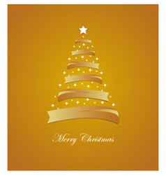 Christmas card with stylized white and golden tree vector image
