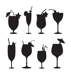 Cocktail silhouettes vector image