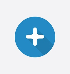 plus Flat Blue Simple Icon with long shadow vector image vector image