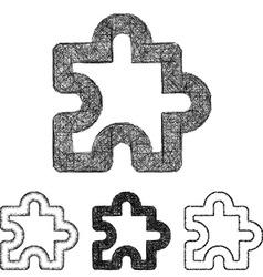Puzzle icon set - sketch line art vector