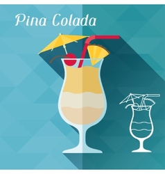 with glass of pina colada in flat design style vector image
