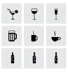 black beverages icon set vector image vector image