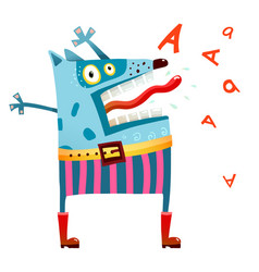 dog monster in pants screaming vector image
