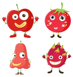Fresh fruits in red vector