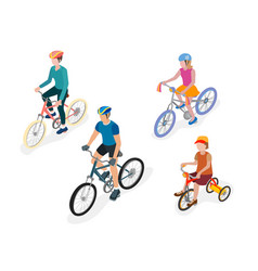 people on bicycles vector image