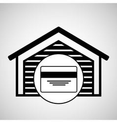 Warehouse building credit card bank icon vector