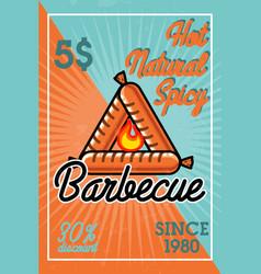 color vintage barbecue banner vector image vector image