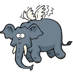 doodle flying elephant vector image vector image