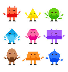 geometric shapes funny monsters cartoon vector image