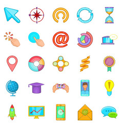 online entertainment icons set cartoon style vector image vector image