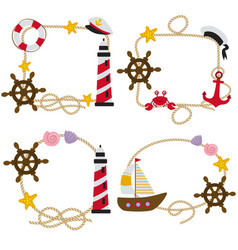 set of isolated rope frames nautical vector image