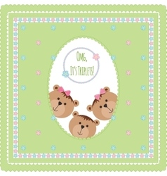 Three happy baby triplets vector image