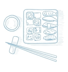 Various kinds of sushi vector image