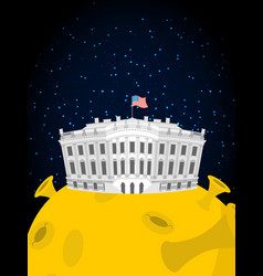 white house in moon us president residence in vector image vector image