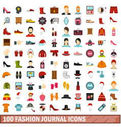 100 fashion journal icons set flat style vector image