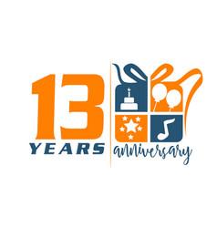 13 year gift box ribbon anniversary vector image