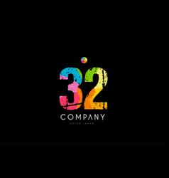 32 number grunge color rainbow numeral digit logo vector image