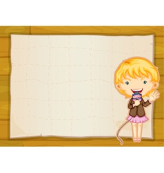 a girl and paper sheet vector image