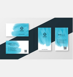 abstract blue watercolor creative business card vector image