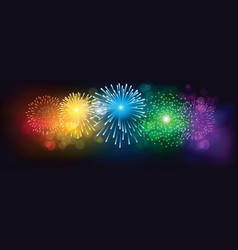 Abstract colorful firework on black background vector