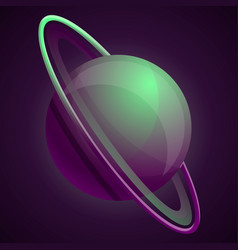 abstract green saturn planet icon cartoon style vector image