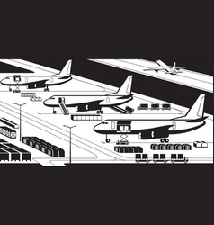 Airplanes at cargo airport vector