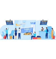 airport services flight crew and passengers vector image