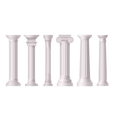 antique white columns realistic icon set vector image