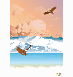 Arctic landscape with eagle fishing at dawn vector