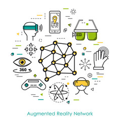 Augmented reality network - line art vector