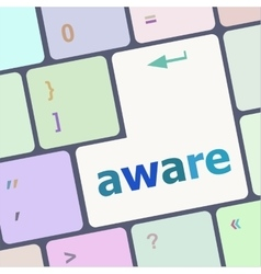 Aware word on keyboard key notebook computer vector