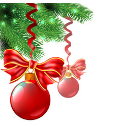 background from christmas balls and bows are vector image