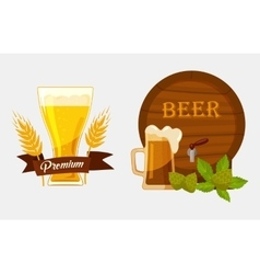 Barrel or keg with beer and glassware goblet vector