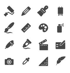 Black art tools icons set vector