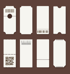 Blank tickets concert theater or airplane empty vector