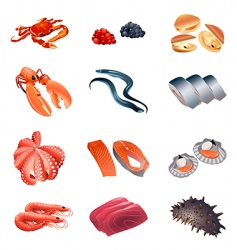 calorie table fish and seafood vector image