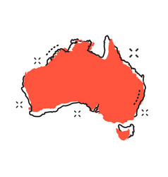 Cartoon australia map icon in comic style vector