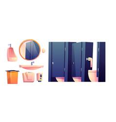 Cartoon furniture for public toilet vector
