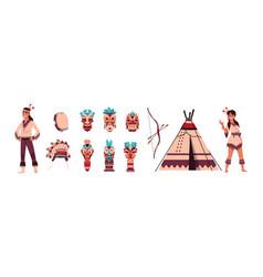 Cartoon indians aztec or maya persons man vector
