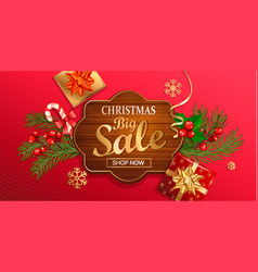 christmas big sale banner for new year holidays vector image