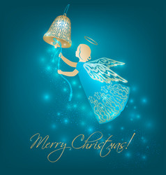 Christmas card with angel and bell vector