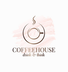 coffee cup coffeehouse watercolor logo on white vector image