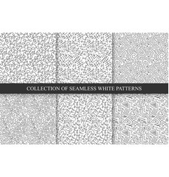 Collection hand drawn seamless patterns vector