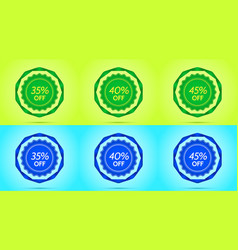 collection of green and blue sale badges vector image