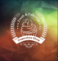 cupcake label design vector image