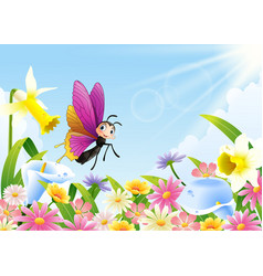 cute butterfly flying on flower field vector image