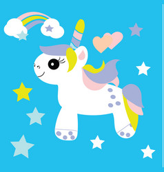 Cute unicorn baby print vector