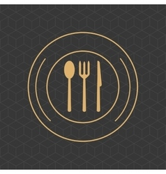 Cutlery on dish emblem image vector