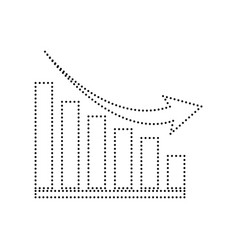 Declining graph sign black dotted icon on vector